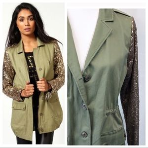 Jackets & Blazers - Army Green Jacket with Gold Sequin Sleeves